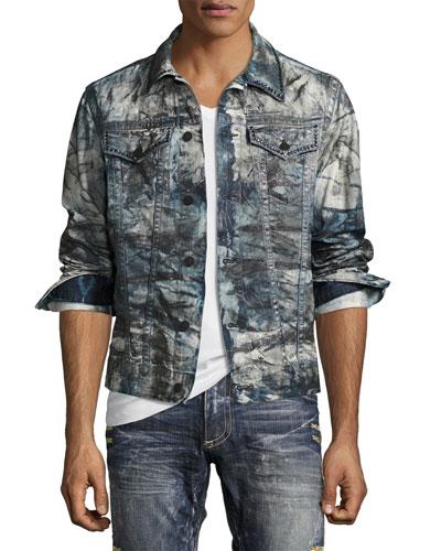 Embellished Dyed Jean Jacket, Indigo
