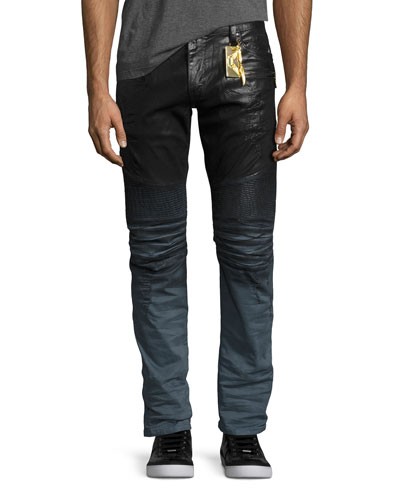 Dip-Dye Coated Skinny Moto Jeans, Black/Blue