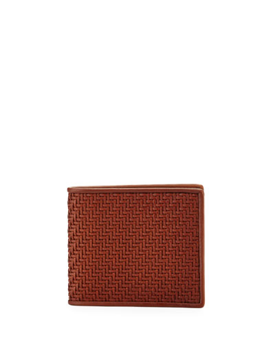 Pelle Tessuta Woven Leather Bi-Fold Wallet, Vicuna Brown