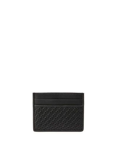Pelle Tessuta Woven Leather Card Case, Black