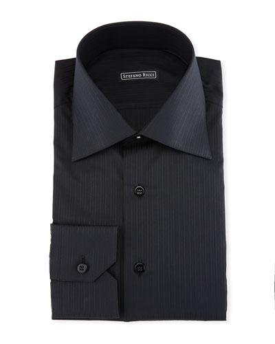 Tonal-Striped Dress Shirt, Black
