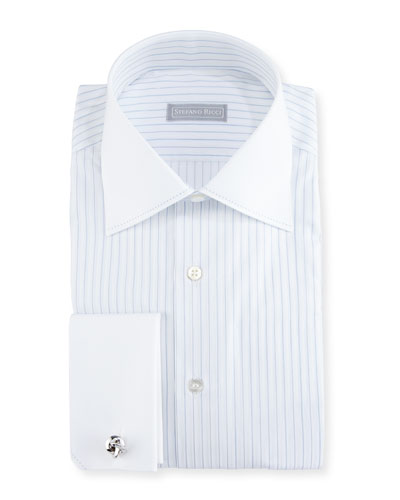 Striped Stitch-Trim Dress Shirt