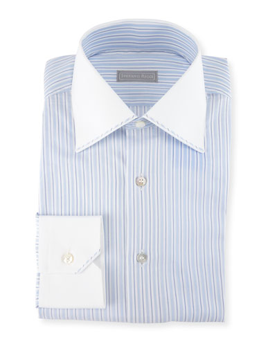 Striped Solid-Trim Dress Shirt