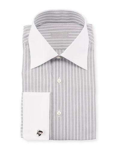Contrast-Collar Striped Dress Shirt
