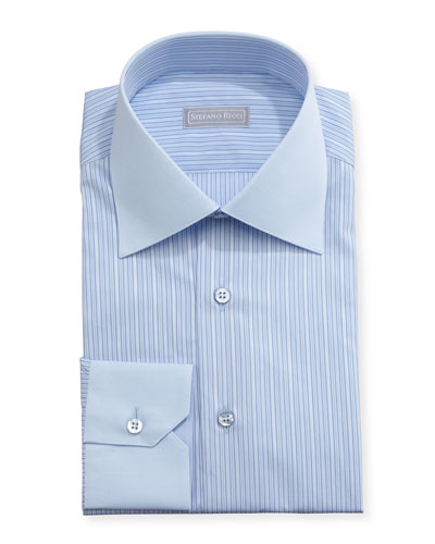 Striped Solid-Collar Dress Shirt, Blue