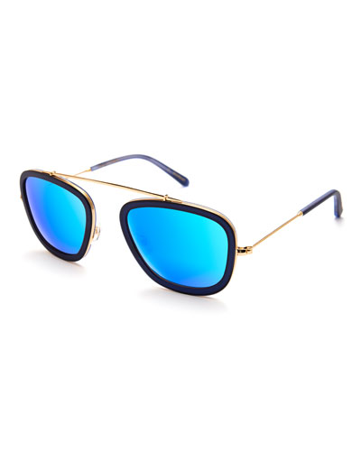Huey Mirrored Aviator Sunglasses, Navy 24K/Blue