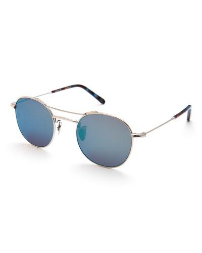Orleans Mirrored Metal Universal-Fit Sunglasses, Titanium/Blue Steel