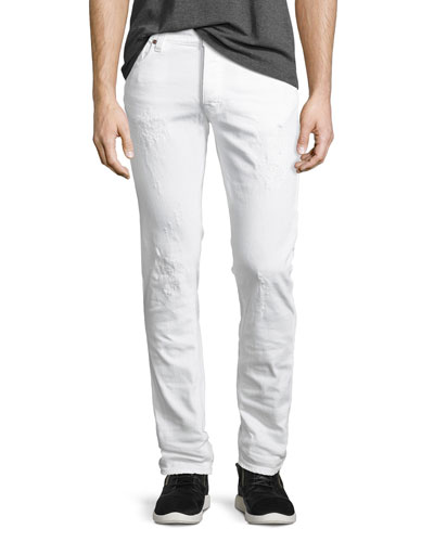 Tilted Tor Distressed Skinny Jeans, White