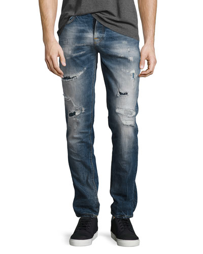 Grim Tim Distressed Slim-Straight Jeans, Medium Blue