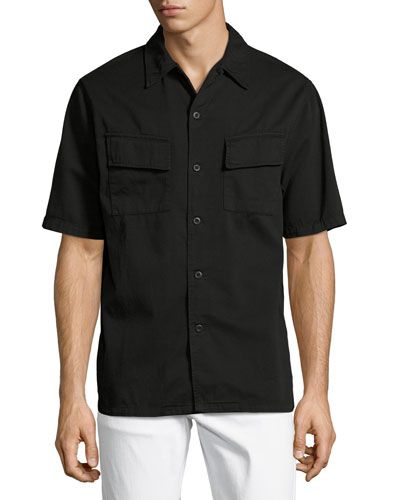Svante Over-Dyed Short-Sleeve Utility Shirt, Black