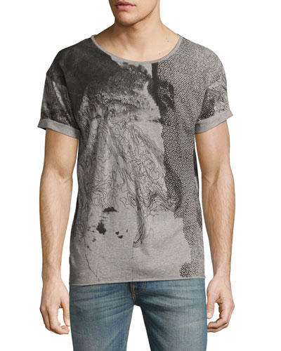 Map Mélange Loose-Fit T-Shirt, Gray