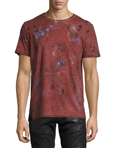 Painted Crewneck T-Shirt, Burgundy
