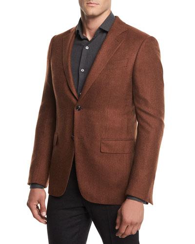 Herringbone Cashmere Two-Button Blazer