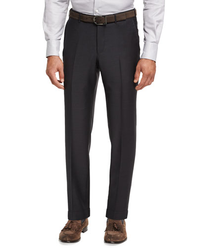 Trofeo® Wool Flat-Front Trousers, Gray