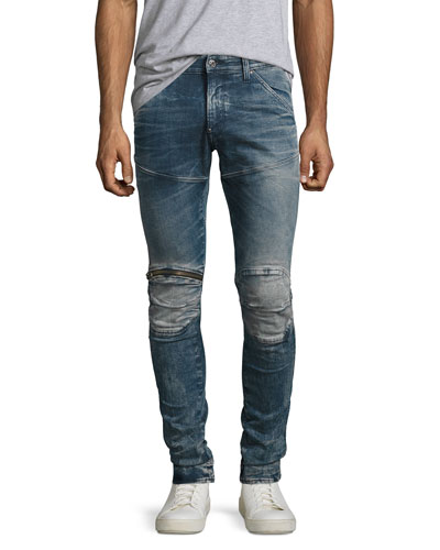 5620 Elwood 3D Super-Slim Zip Jeans, Gavi (Blue)