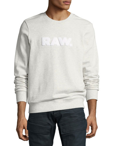 Raw Mélange Logo Sweatshirt, Light Gray