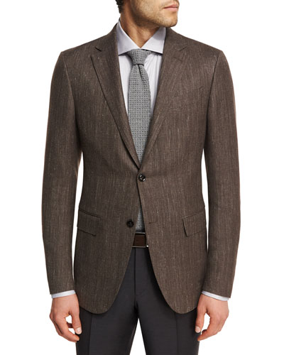 Herringbone Wool-Blend 2-Button Sport Coat