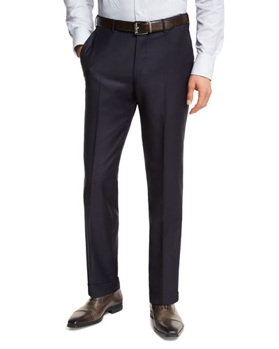 Trofeo® Wool Flat-Front Trousers, Navy
