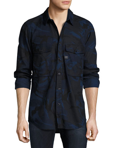 Type C Camouflage Denim Utility Shirt, Blue