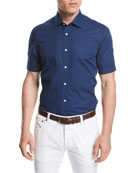 Stitched Floral Short-Sleeve Cotton Shirt, Navy