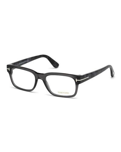Rectangular Acetate Eyeglasses, Gray