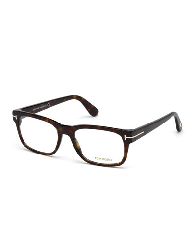 Square Acetate Eyeglasses, Dark Havana