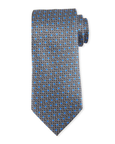 Printed Chevron Silk Tie, Gray