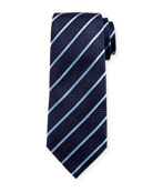 Diagonal-Stripe Silk Tie, Navy