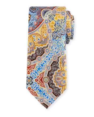 Quindici Large Medallion Silk Tie, Gold