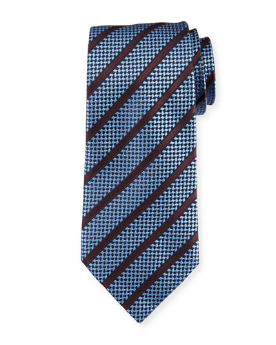 Chevron Striped Silk Tie, Light Blue