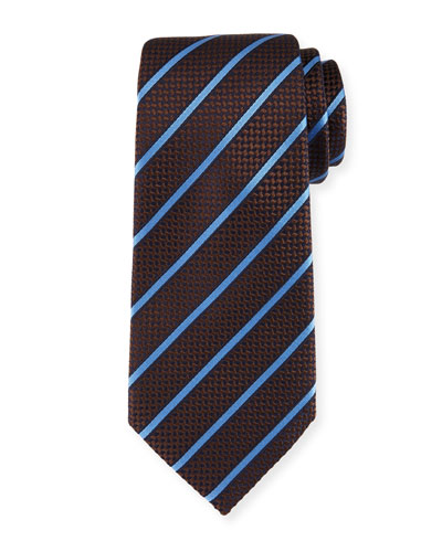 Chevron Striped Silk Tie, Brown