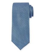 Basketweave Silk Tie, Blue