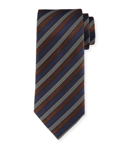 Tricolor Striped Tie, Brown