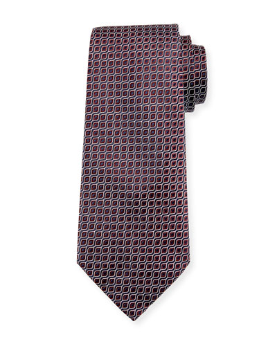Wave Jacquard Silk Tie, Red