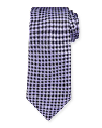 Micro-Diamond Textured Silk Tie, Purple