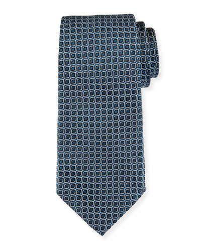 Wave Jacquard Silk Tie, Blue