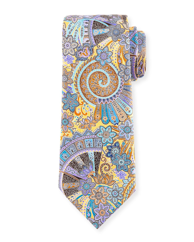 Peacock Printed Silk Tie, Yellow