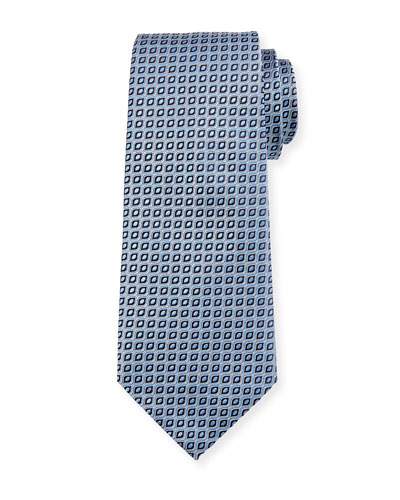 Wave Jacquard Silk Tie, Light Blue