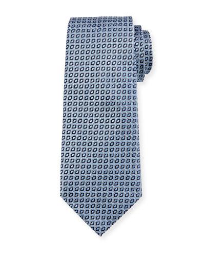 Wave Jacquard Silk Tie, Light Blue