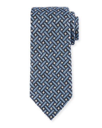 Lattice Silk Tie, Blue