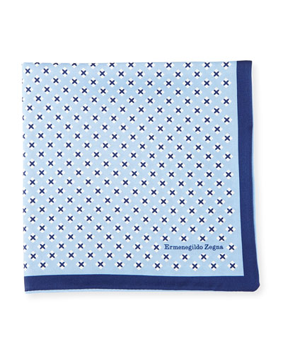 Geometric Cross Silk Pocket Square, Blue