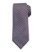 Diagonal Geometric Silk Tie, Red