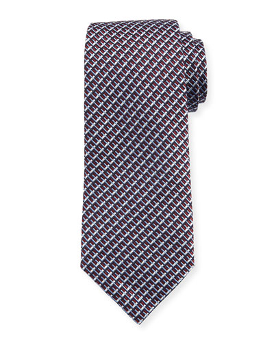 Diagonal Geometric Silk Tie, Red