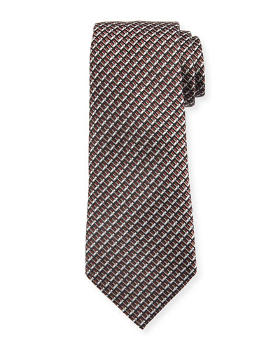 Diagonal Geometric Silk Tie, Brown