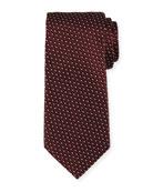 Diagonal Diamonds Silk Tie, Red