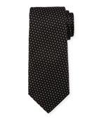 Diagonal Diamonds Silk Tie, Black