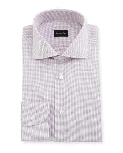 Micro-Box Check Cotton Dress Shirt