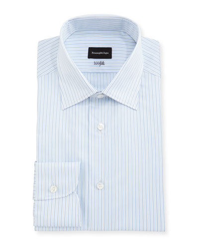 100Fili Striped Cotton Dress Shirt, White/Blue