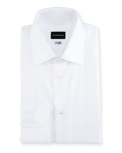 100Fili Solid Dress Shirt, White