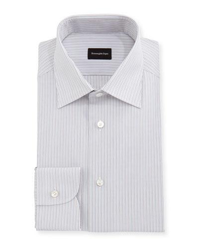 Fine-Striped Cotton Dress Shirt